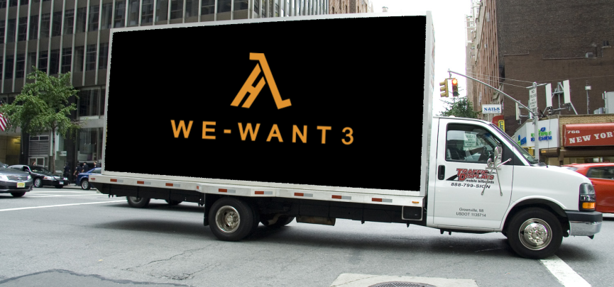 "One goal of the ""We Want Half-Life 3"" campaign  is to hire a mobile billboard truck to circle Valve's HQ for an entire day"