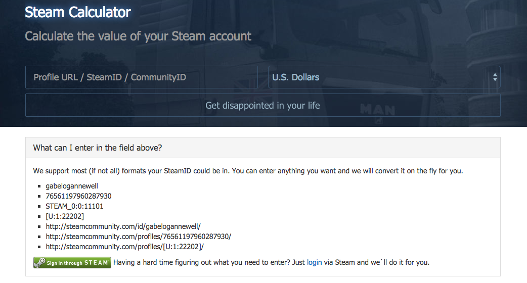 Calculate the value of your Steam Account (or someone else's!).