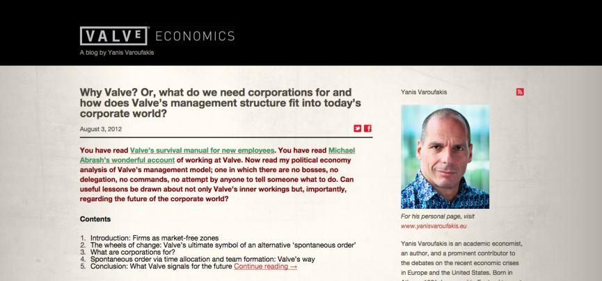 The official 'Valve Economics' blog run by Yanis Varoufakis