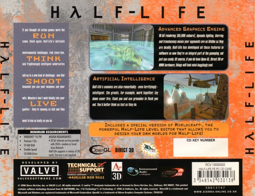 The original Half-Life CD case, showing the Run. Think. Shoot. Live. tagline