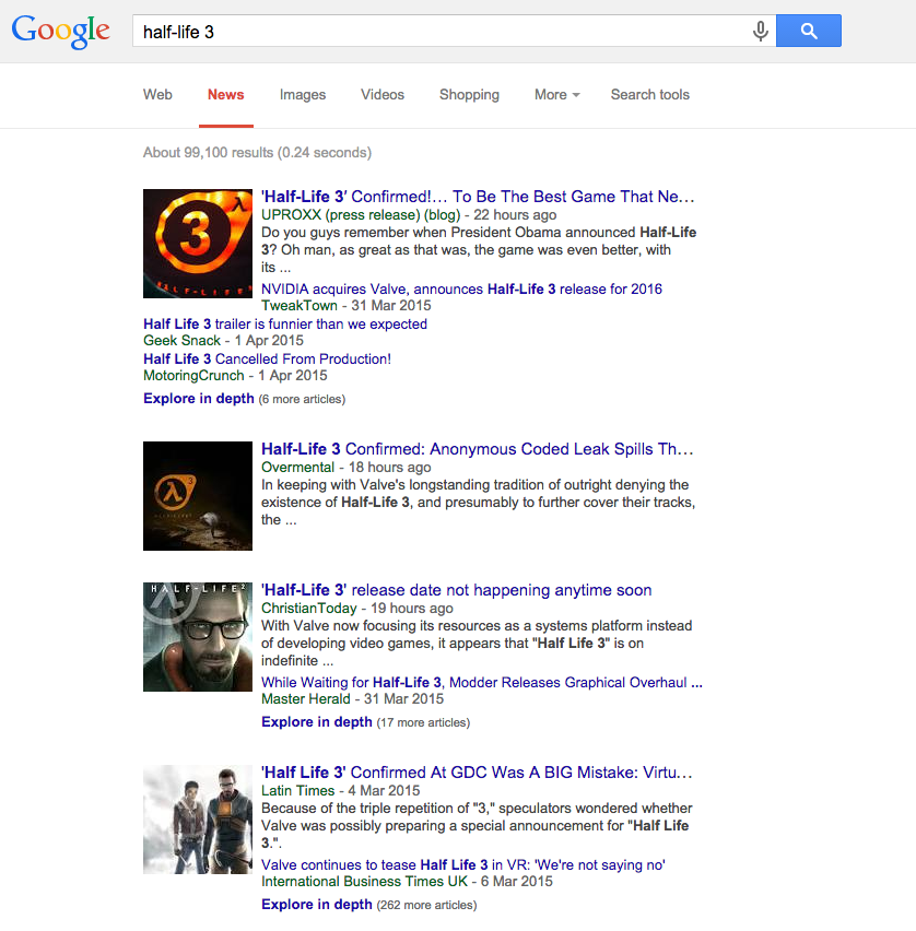 A Google News Search for 'Half-Life 3'
