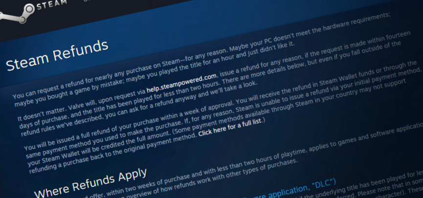 Steam's Refund Policy Expands