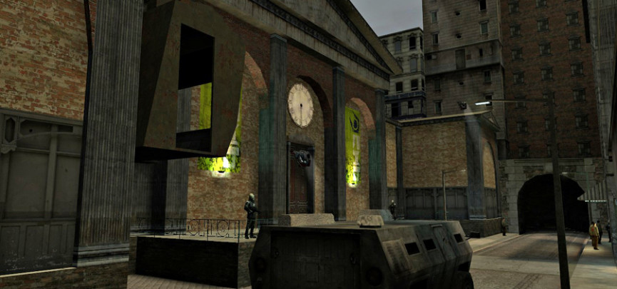 The earliest mockup of the City 17 Trainstation. Image courtesy of Combine Overwiki.
