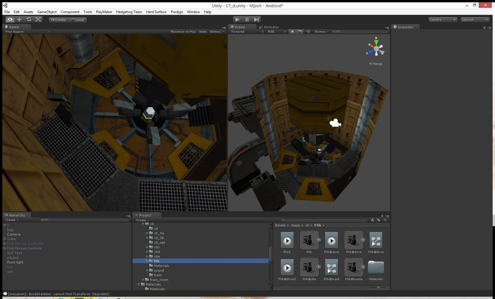 A development screenshot of Half-Life Mobile