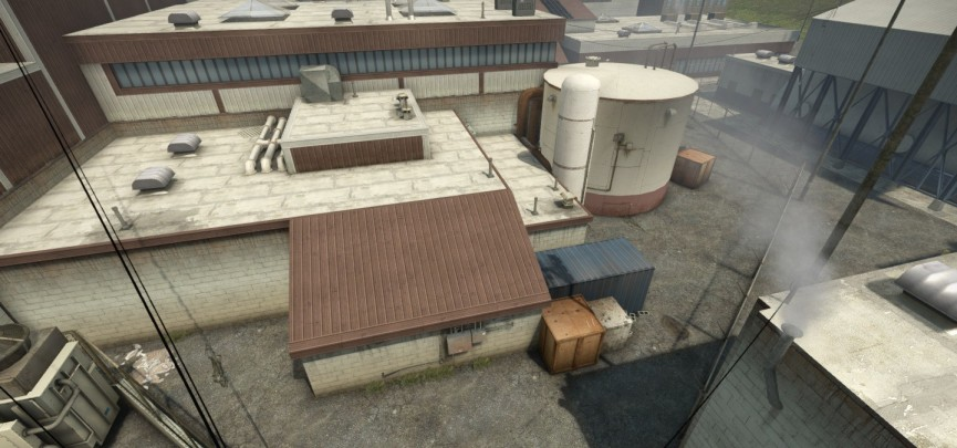 Crate placement in CSGO de-nuke is highly specific to create sightlines