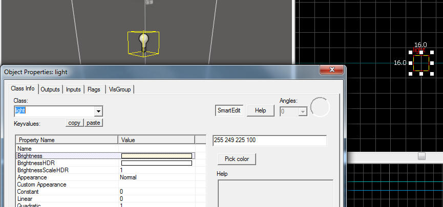 The light entity in the editor...