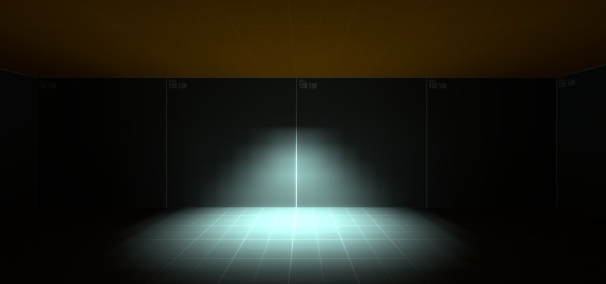 """The """"blocky"""" effect visible on wall can be minimised by decreasing the lightmap scale (see below)."""