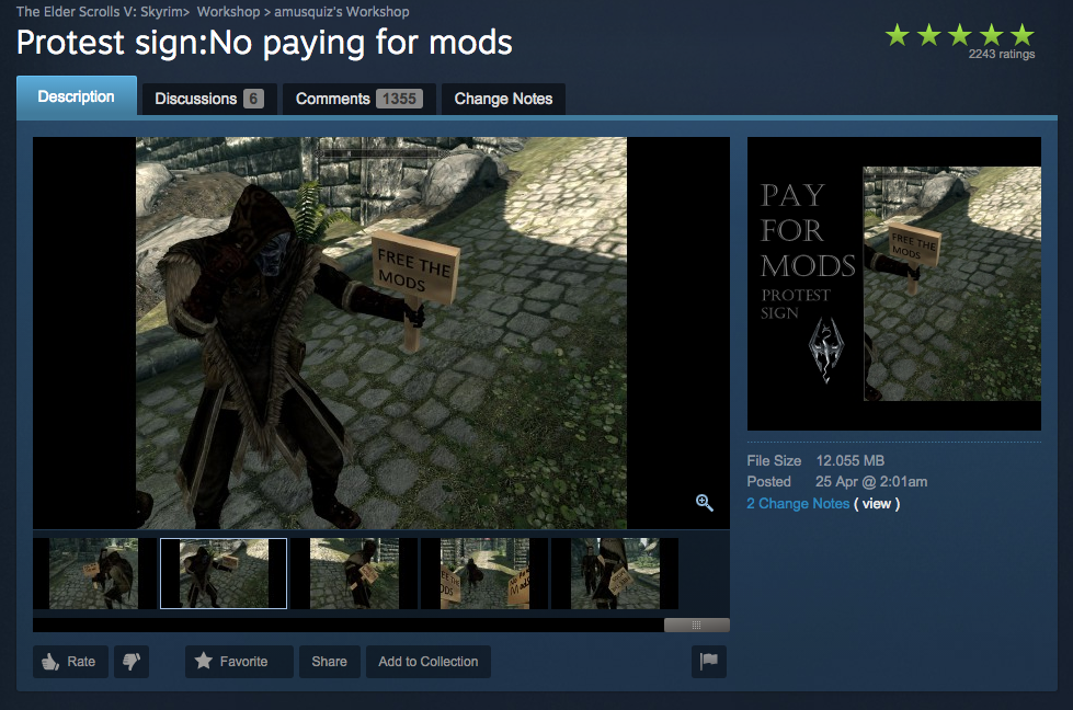 You can even download a mod to protest paying for mods.