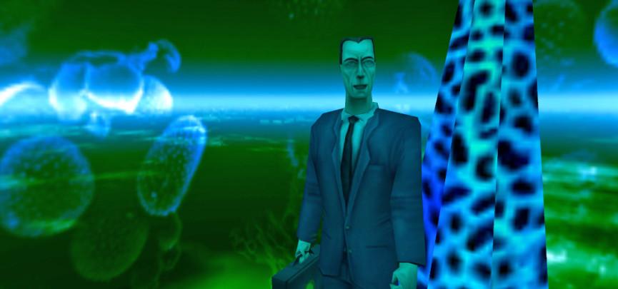 The G-Man congratulating Gordon Freeman at the end of Half-Life.